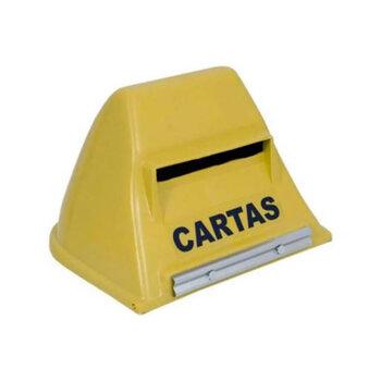 Caixa de Correio Simples Plástica Amarela - com Suporte para Fixação em Grade