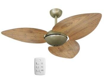 Ventilador de Teto Volare Dunamis Office Gold 127v10,5uF Chave 3Velocidades 3Pás MDF Radica Frejo - Ventilador Sem Luminária p/Área Gourmet