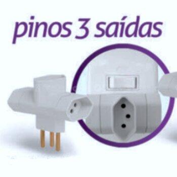 Pino Multiplicador de Tomada TE 3Pinos 10A X 3 sáidas X 3P 10A - Modelo Especial Não cobre o Interruptor quando tem no mesmo Ponto