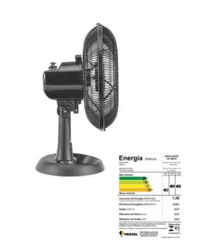 Ventilador de Mesa 30cm Ventisol Turbo Eco 6Pás 127v 52w Preto/Hélice Preta