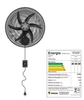 Ventilador de Parede 50cm Ventisol Monta Fácil 6Pás 127v 135w Preto/Hélice Cinza 6Pás