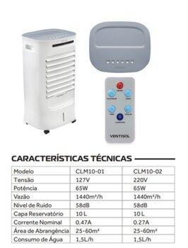 Climatizador de Ar Evaporativo Portátil 010Litros 127v 65w Ventisol CLM10-01 Vazão 1.440m3/h - Controle Remoto Total - Climatizador Residencial Nobill