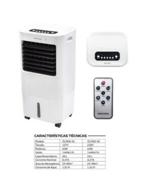 Climatizador de Ar Evaporativo Portátil 020Litros 127v 65w Ventisol CLM20-01 Vazão 00600m3/h - Controle Remoto Total - Climatizador Residencial Nobill