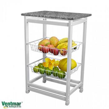 Fruteira em Metal Branca Desmontavel C/Tampo De Granito 55cm - Fruteirão Medidas A810 X L495 X P360m