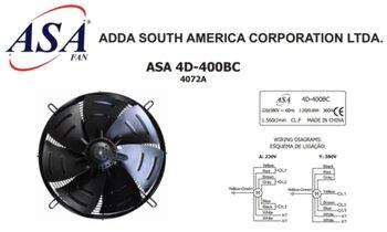 Exaustor e Soprador Axial 40cm - Cooler AsaFan Trifásico 220/380V - 7Pás Axial-D 7x401 - 74D - 400BC -