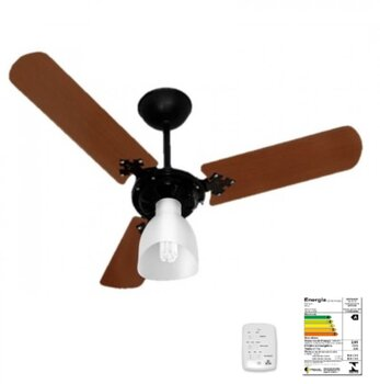 Ventilador de Teto Venti-Delta Super Light 220v04,0uF 130W cor Preta 3Pás MDF Mogno 1Luz Chave 3Velocidades - Consumo A