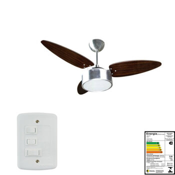 Ventilador de Teto Venti-Delta Luminária Fharo 127Volts 10,0uF Aluminio Escovado 3Pás Bala cor Tabaco Chave 3 Velocidades