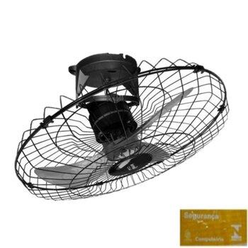 Ventilador de Teto Loren Sid Turbo Orbital 60cm M1 Bivolts cor Preta Rotação em 360° Grade Metal - Ventilador Sem Luminária p/Área Gourmet