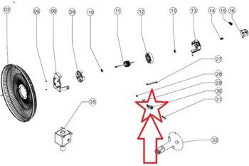 Mecanismo do Oscilante Suporte do Motor Ventilador Venti-Delta New Light 40/50cm Branco - Suporte de Articulação VT Oscilante - Encaixe Pino 00,0mm