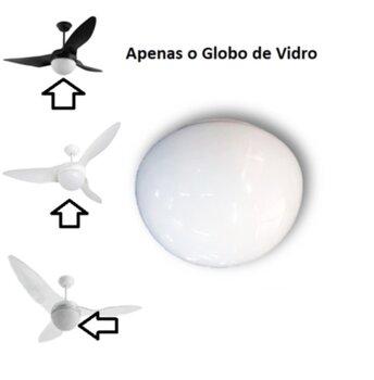 Globo Cúpula Vidro para Ventilador de Teto Aliseu Terral - Globo de Vidro Terral V02 Leitoso 4 Molas Gola 20mm - Diâmetro de Encaixe 213mm