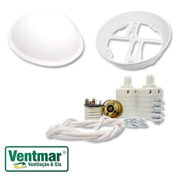 Luminária para Ventilador de Teto Loren Sid Globo Pérola Primor - Cúpula Plástica c/Plafon/Suporte, Fios e Soquetes para Montagem