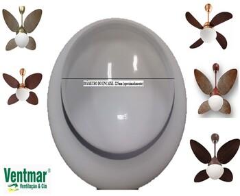 Globo Cúpula Vidro da Luminária Ventilador de Teto VOLARE VR42 Encaixe 225mm - Para Volare Fly Pétalo Palmae e Outros