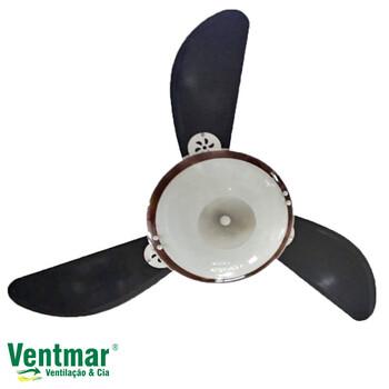 Ventilador de Teto RiopreLustres Bruxelas 127V10,0 Branco 3Pás Tuba Tabaco Luminária Anti-Inseto Vidro Leitoso c/Borda Marrom/Tabaco - Chave 3Velocida