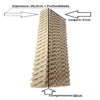 Colméia para Climatizador Ventisol CLIPRO45/70/100Litros, MWM M4500 41Litros - Painel Lateral - Espessura 5,0cm x L21 x A60CM *Vendida p/Unidade - Pai