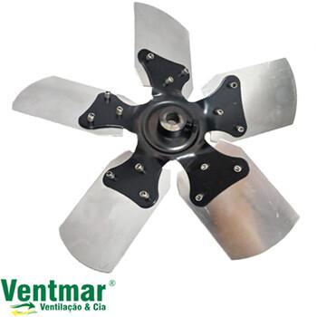 Helice para Exaustor Venti-Delta Linha Pesada 30cm 5Pas Metal - Encaixe Eixo 11mm c/Cubo c/Trava Traseira Fixada c/Parafuso Lateral