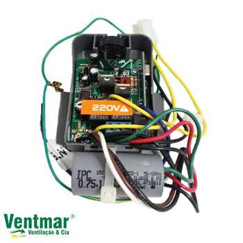 Módulo Receptor para Controle Remoto Latina 220v c/Cap 02,5uF 0,75+1,75mF Luz Azul + Base Preta - Ventilador de Teto Latina NCR VT673 VT675 220Volts