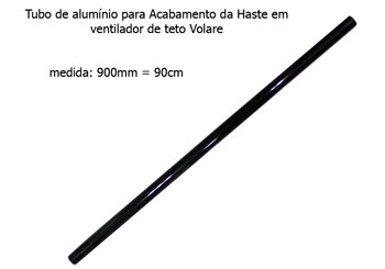 Acabamento Tubo de Alumínio do Ventilador de Teto VOLARE Preto 90cm VLR