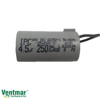 Capacitor para Ventilador de Teto Aliseu Jet 127Volts 3Velocidades 04,5uF 2Fios 250Vac CAP004,5
