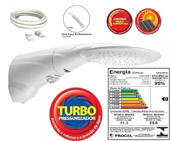 Chuveiro Ducha Lorenzetti Advanced MultiTemperaturas Turbo 127v 5500Watts - Ducha Lorenzetti