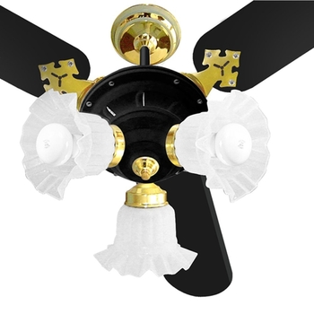 Ventilador de Teto Venti-Delta New Zeta 127v Preto 3Pás MDF Pretas Chave 3Velocidades Luminária Preta/Dourada c/3Tulipas Plásticas Flor