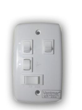 Chave para Ventilador de Teto de 3 Velocidades + 2 Teclas p/Luz - * Apenas o Espelho com as Teclas + *SEM CAPACITOR
