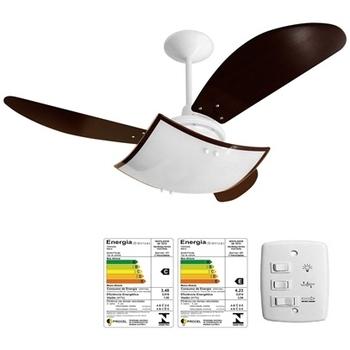 Ventilador De Teto Venti-Delta New Smart 127v Branco Pás Tuba Tabaco - Chave 3 Velocidades