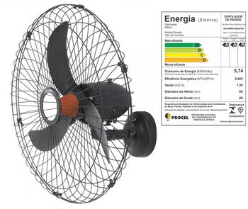 Ventilador de Parede 70cm Solaster Veneza Plus Bivolts 188/226w Preto - Hélice 3Pás Grade Metal Preta - Chave Controle de Velocidade - Ventilador Vene