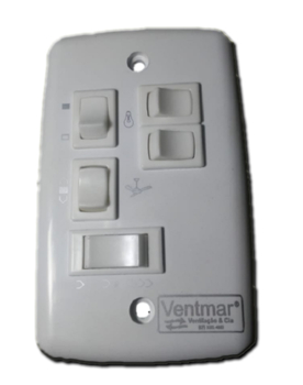 Chave para Ventilador de Teto Venti-Delta New Light 3Velocidades 127v c/Teclas p/Ligar 3 Lampadas 07,5uFf (3,0+4,5mF) CV3V