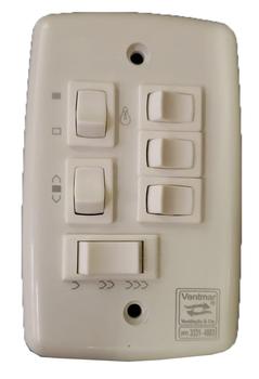 Chave para Ventilador de Teto 3Velocidades com Capacitor de 10,0uF 4,0+6,0mF com 4Teclas de Luz R4L