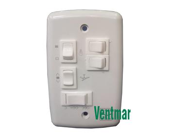Chave para Ventilador de Teto 3Velocidades c/Capacitor 3Fios de 09,0uF (3,0+6,0mF) Liga 3 Lampadas - Chave Ventilador Spirit 127v - Ventilador Lunik /