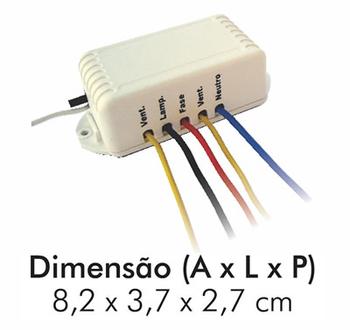 Controle Remoto para Ventilador de Teto - Kit Controle Universal p/Vários Modelos Até 170W - VT1020 Devise Bivolts