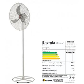 Ventilador de Coluna 70cm Solaster Veneza Plus Bivolts 188/226W Branco/Cinza - Hélice 3Pás Grade Metal Cinza+Fechada - Ventilador Solaster Veneza Plus