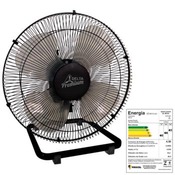Ventilador de Mesa 50cm Venti-Delta Premium Bivolts 170w Preto Grade Metal Preta - Hélice 4Pás c/Chave Controle de Velocidade
