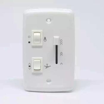 Chave para Ventilador de Teto - Chave Bivolts c/Controle de velocidade Deslizante c/Tecla de Reversão + 1 Tecla p/Luz Liga 1Lâmpada