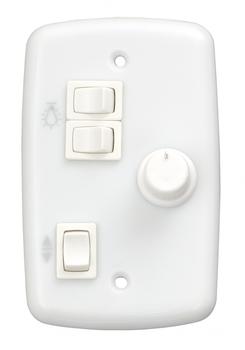 Chave Ventilador de Teto - Controle Rotativo de velocidade + 2 Teclas Liga 2 Lampadas - Bivolt