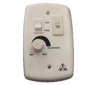 Chave Ventilador de Parede Rotativo 1 Tecla Liga Desliga (Dimer 200W) Bivolt Com Fundo de Caixa + Ch