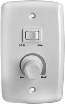 Chave para Ventilador de Parede 1-Tecla Liga/Desliga c/Controle de Velocidade Rotativo Bivolts 0400Watts Branca - Apenas Espelho 4x2 Branco