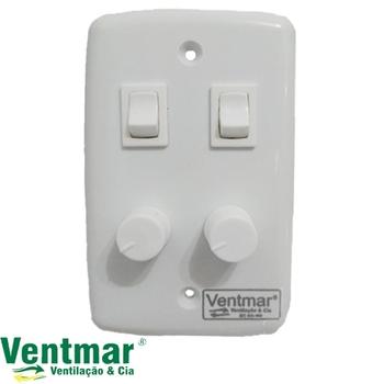 Chave para Ventilador 2 Controle de Velocidade Dimer 0400w Rotativo - Controla 2 Ventiladores c/2 Teclas Liga Desliga e 2 Dimers