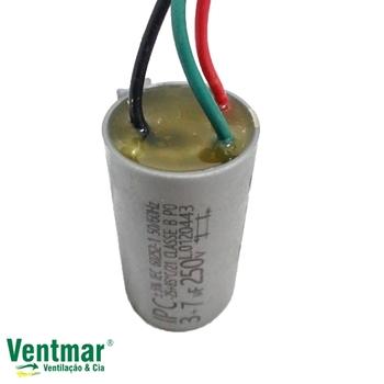 Capacitor para Ventilador de Teto Venti-Delta 127Volts 3Vel 3Fios 10,0uF 3+7mF 250vac - Ventilador Loren Sid, Arge, RioPreLustres 127Volts