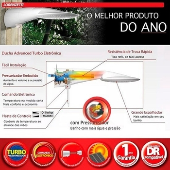 Chuveiro Ducha Lorenzetti Advanced Eletrônica Turbo 127v 5500Watts - com Haste p/Regular Temperatura