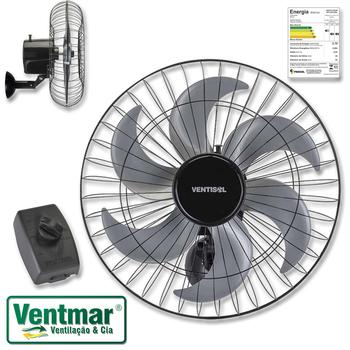 Ventilador de Parede 50cm Ventisol Steel Bivolts 200w Preto Oscilante Turbo Hélice 6Pás Cinza c/Chave com Controle de Velocidade