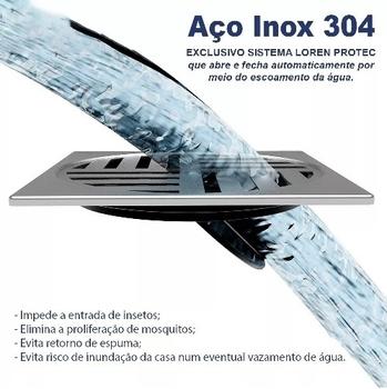 Grelha Ralo Quadrada 100mm Inox para Banheiro - Grelha Anti Dengue - Auto Fechante - Loren Protect