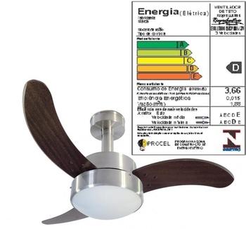 Ventilador de Teto RioPreLustres Evolution 1050 Aluminio Escovado 3 Pás Facão Tabaco Chave 3 Vel 127