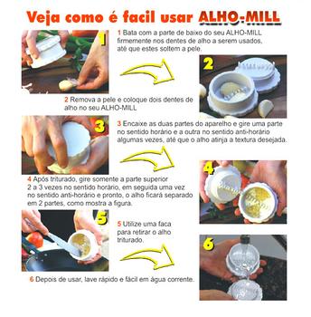 Amassador de Alho Manual Alho-Mill Original Preto - Triturador De Alho Manual - Produto Original