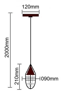 Pendente Luminária Volare 1817 Metal Marron Corten com Grade 095mm 1xE27 - 50215 TKS Iluminação - Pr