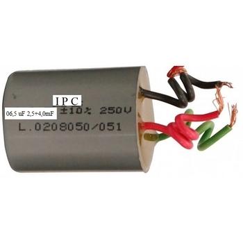 Capacitor para Ventilador de Teto 3Velocidades - 3Fios 06,5uF 2,5+4,0mF 400VAC - Capacitor para Ventilador CAP006,5