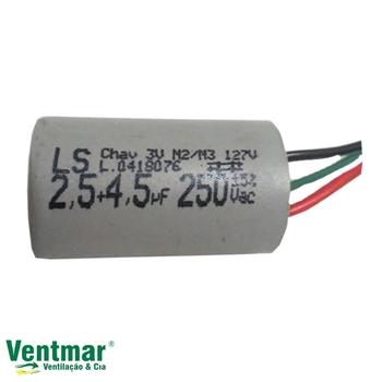 Capacitor para Ventilador de Teto Aliseu 127v 07,0uF 2,5+4,5mF 3Fios 250VAC - Capacitor para Ventilador Terral - Geo - Slim - Nano Inspire 127V