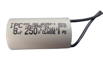Capacitor de Partida de 08,0uF 250VAC 2Fios para Ventilador de Teto Aliseu / Ventilador de Teto Latina CAP008,0