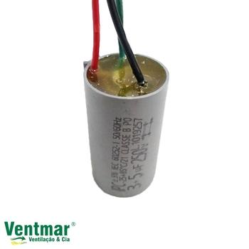 Capacitor para Ventilador de Teto 3Velocidades 3Fios 08,0uF 3,0+5,0mF 250VAC - para Ventilador VentiSol CAP008,0