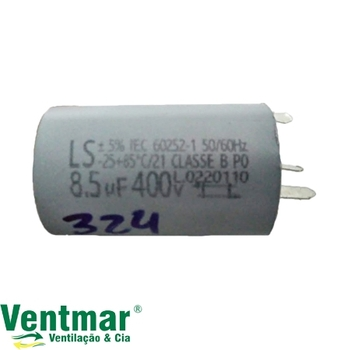 Capacitor para Ventilador Loren Sid Bivolts 08,5uF com Terminais - Capacitor de Partida 08,5uf 400VAC CAP008,5